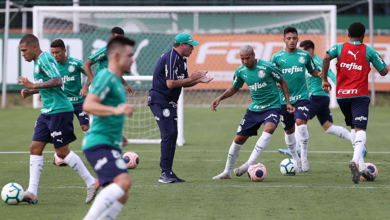 Cesar Greco/Ag. Palmeiras/Divulgação_Luxemburgo e sua comissão promoveram trabalhos em campo reduzido e com poucos toques na bola