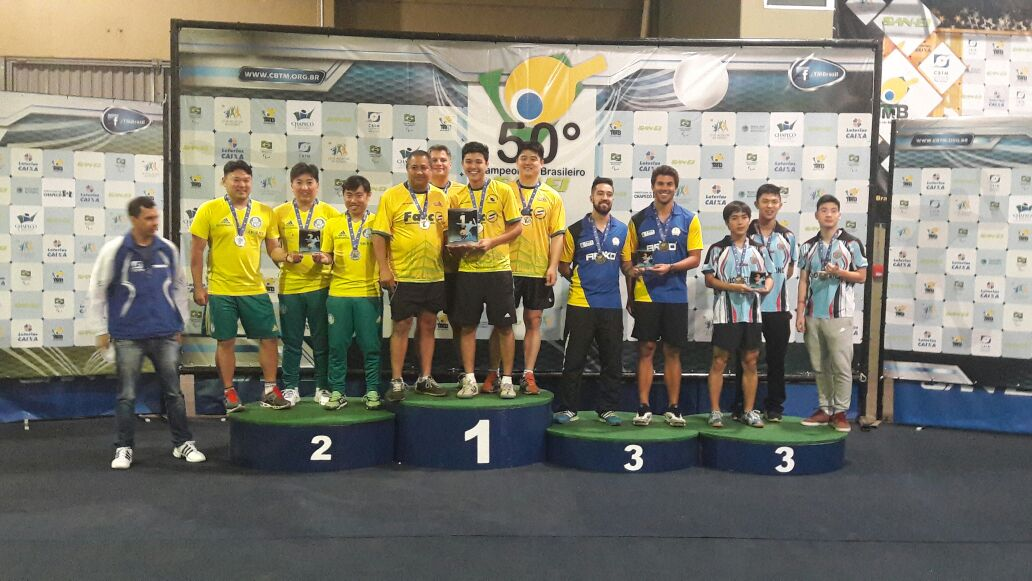 Divulgação _ A equipe de tênis de mesa do Palmeiras foi prata em Chapecó-SC
