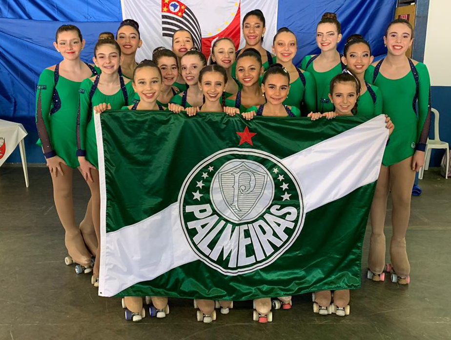 Divulgação _ As meninas da patinação do Palmeiras fizeram bonito em 2019