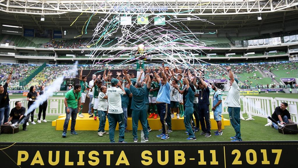 Fabio Menotti/Ag. Palmeiras/Divulgação _ O time-base do Verdão no torneio foi o grande campeão paulista Sub-11 em 2017