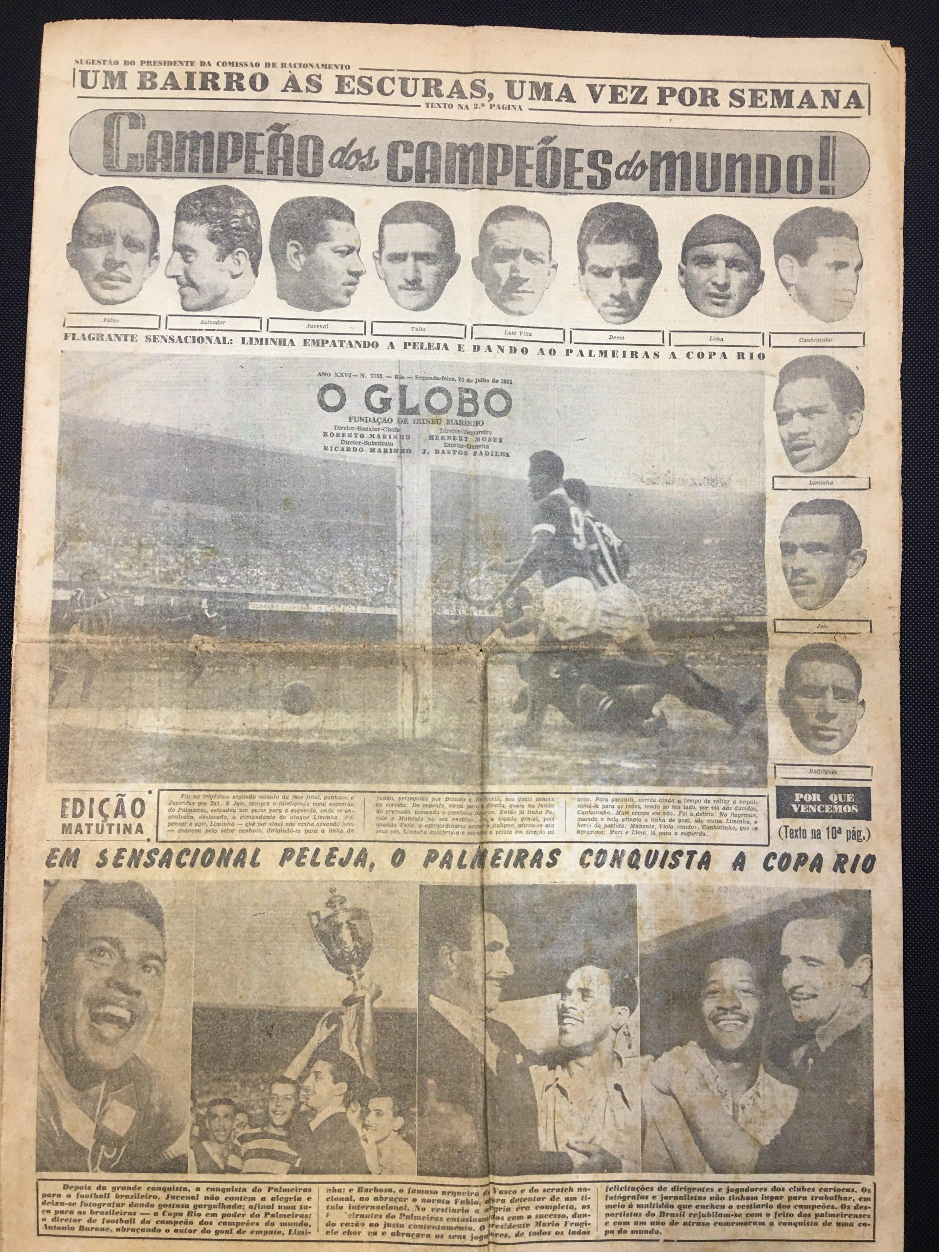 Página do jornal O Globo