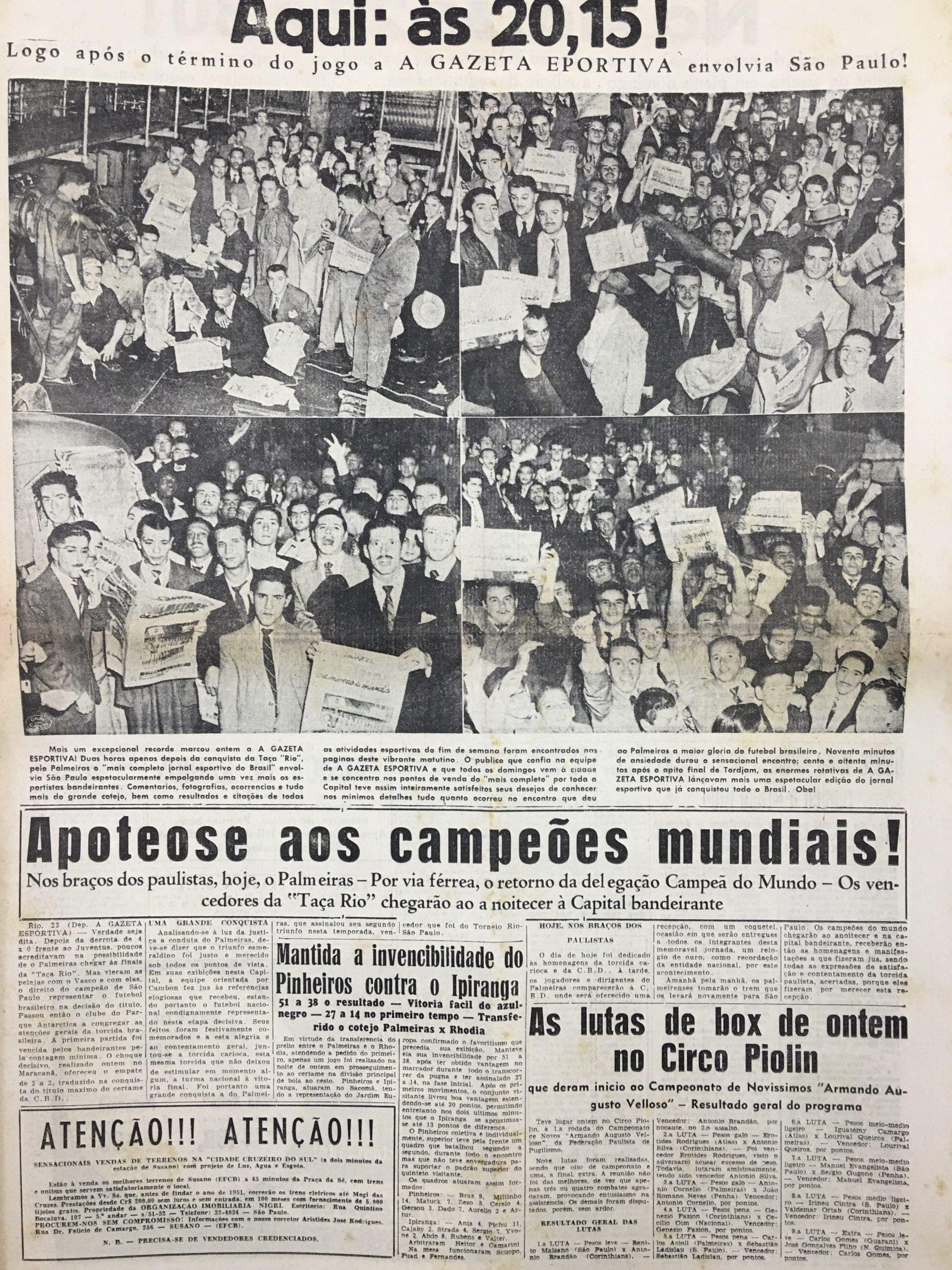 Página do jornal A Gazeta Esportiva